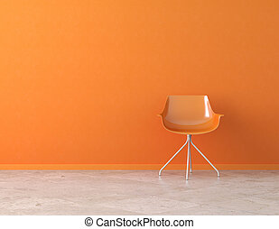 naranja, pared, interior, con, espacio de copia