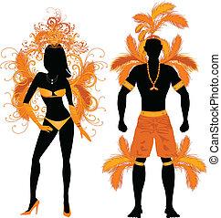 naranja, pareja, silueta, carnaval