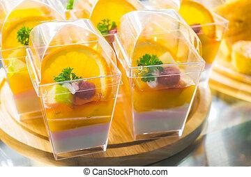 naranja, pastel de queso, delicioso