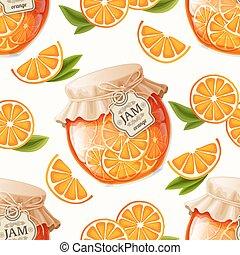 naranja, patrón, atasco, seamless