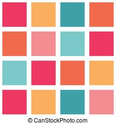 naranja, patrón, cerceta, embaldosado, colorido