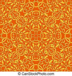 naranja, patrón, papel pintado, seamless