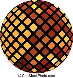 naranja, pelota, mosaico