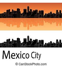 naranja, perfil de ciudad, plano de fondo, méxico