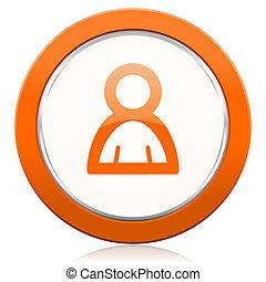 naranja, persona, icono