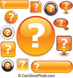 naranja, pregunta, signs.