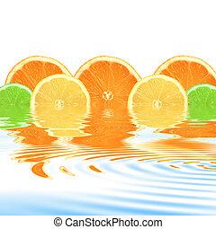 naranja, resumen, lima de limón
