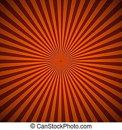 naranja, resumen, rayos, plano de fondo, radial