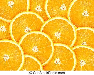 naranja, resumen, rebanadas, plano de fondo, citrus-fruit
