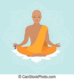 naranja, robe., tibetano, monje