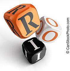 naranja, roi, bloques, dados, negro