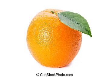 naranja sale, fondo blanco, maduro