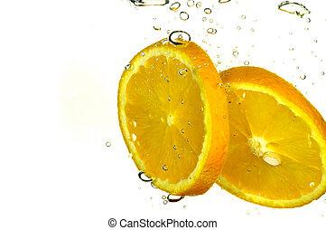 naranja, salpicadura, rebanada