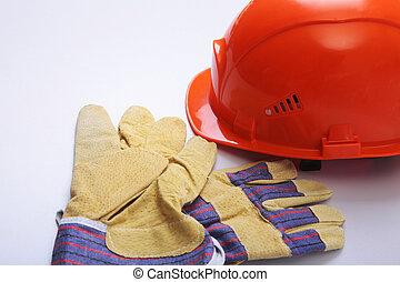 naranja, sombrero, fondo., gafas de protección, duro, guantes, blanco, seguridad
