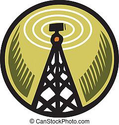 naranja, torre, radio, círculo