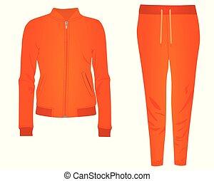 naranja, tracksuit, mujeres