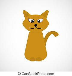 naranja, vector, gato, caricatura