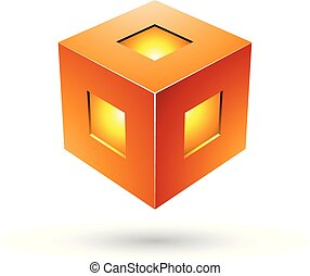 naranja, vector, negrita, cubo, ilustración, linterna