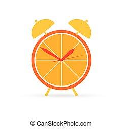naranja, vector, reloj