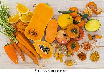 naranja, vegetales, fruta