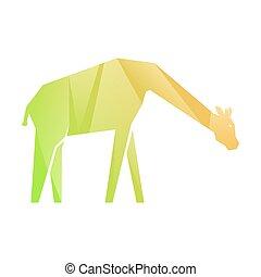 naranja, verde, gradiente, multicolor, jirafa