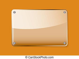 naranja, vidrio, etiqueta, nombre