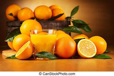 naranja, vidrio, jugo