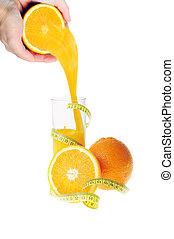 naranja, vidrio, jugo fresco