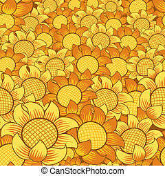 naranja, y, flor amarilla, seamless, repetir, plano de fondo