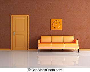naranja, y, marrón, salón