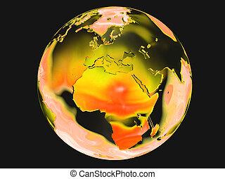 naranja, y, tierra verde