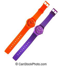 naranja, y, violeta, plástico, relojes, aislado, blanco