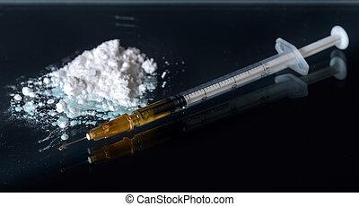 narcótico, vício, arrastar, branca, conceito, pó, syringe.