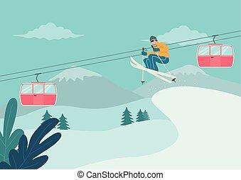 narciarstwo, śnieżny, człowiek, góra
