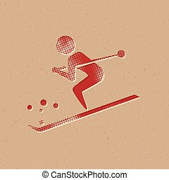 narciarstwo, halftone, ikona, -