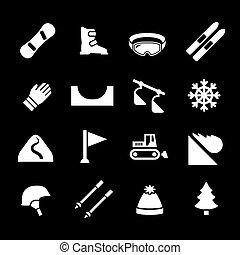 narciarstwo, snowboarding, komplet, ikony