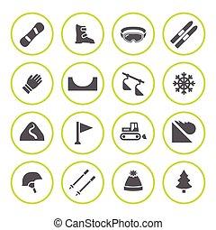 narciarstwo, snowboarding, komplet, okrągły, ikony