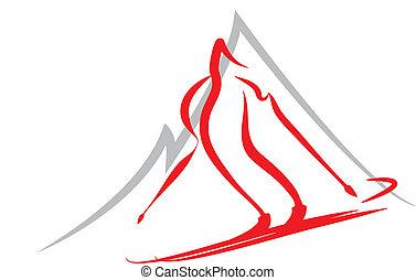 narciarstwo, symbol, zima sport