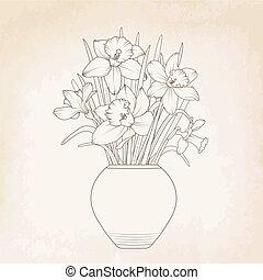 narcisse, bouquet, jonquilles, pot fleurs, vase