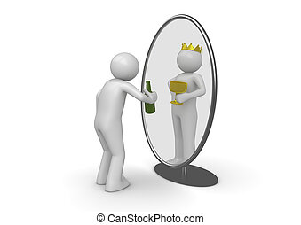 Narcissist - man with bottle king in mirror - 3d isolated ...