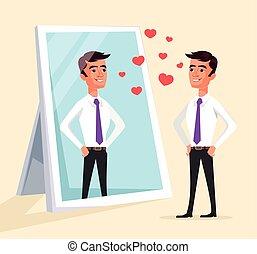 Narcissistic man character looks at mirror. Vector flat ...