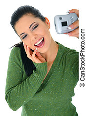 Narcissistic Mode - pretty woman taking picture of herself...
