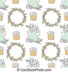 NARCISSUS Easter Holiday Vector Illustration Seamless Pattern