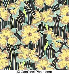 narcissus flower seamless pattern