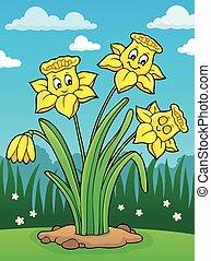 Narcissus flower theme image 2 - eps10 vector illustration.