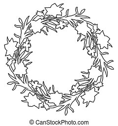 narcissus., ghirlanda, fiori, bordo, floreale, cerchio, countour, mano, disegnato
