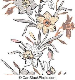 narcissus., modello, verticale, fiori, seamless, floreale, tromboni, mano, disegnato