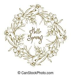 narcissus., ornamentale, fiori, disegnato, cornice, mano, floreale