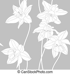 Narcissus seamless pattern.