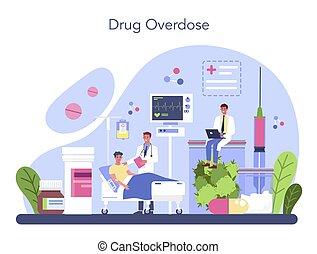 Narcologist concept. Professional medical specialist. Drug overdose